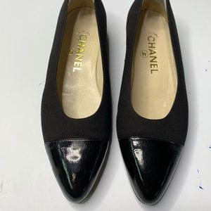 Chanel Cap Toe Ballet Flats Black Leather Canvas